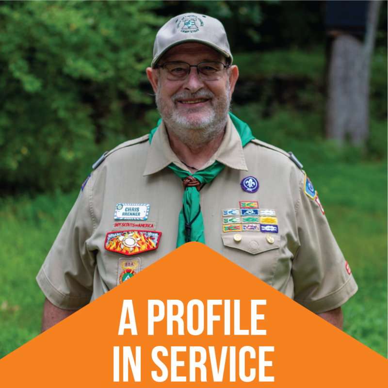 A smiling Chris Brenner and the text 'A Profile In Service