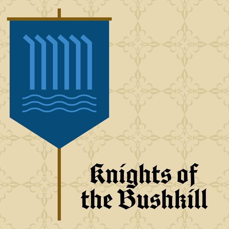 A medieval style banner of the falls with the text 'Knights of the Bushkill'