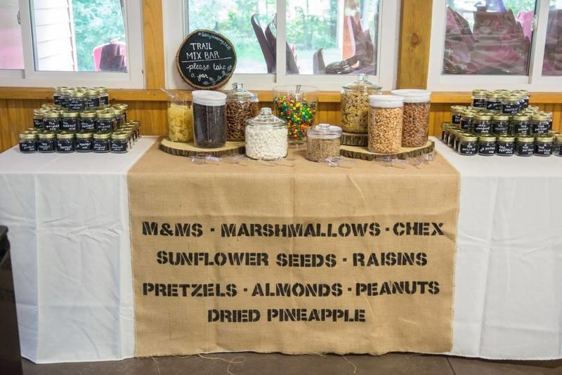 A trail mix bar at a special event
